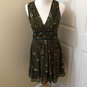 A&F Dark Green Floral Dress | Medium